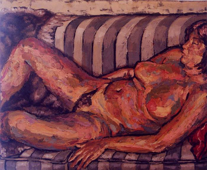 Nude, oil on canvas. Carola. Painted with palette knives.  60 x 90 cm (24 x 35 in)