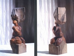 Expulsion of Eve, walnut. 40 cm tall