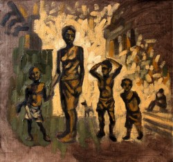 Oil sketch on canvas-panel, of children in the street 29 x 30 cm (11.5 x 12 inches)