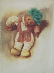 Oils on gessoed pastel paper. Still life: Juan, Lydia's eyeless, one-handed doll.  65 x 50cm (26 x 20 in)