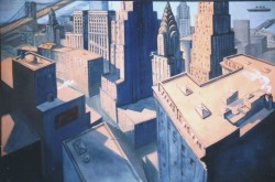Imaginary landscape. Oil on canvas. Cityscape-sunrise.  150 x 210cm (59 x 83 in)