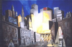 Imaginary landscape. Oil on canvas. Cityscape-night.  150 x 210cm (59 x 83 in)