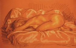 Conte crayons on pastel paper. Nude-6.  30 x 50 cm (12 x 20 in)