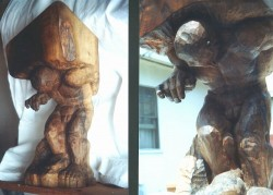 Sysiphus, 2 views, sculpted in Walnut root. 54cm x 22cm x 22cm (22in x 9in x 9in).