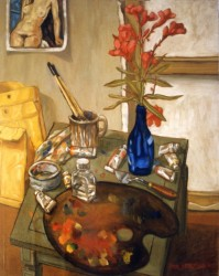 Painting, oils on pastel paper. Still life, studio table in Los Angeles.  65 x 50 cm (26 x 20 in)