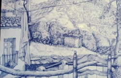 Drawing, ball-point pen on drawing paper. View from terrace in Atalbeitar, Sierra Nevada, Spain.  30 x 50 cm (12 x 20 in)