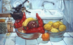 Painting, oils on paper. Still life with sweet peppers, Atalbeitar, Spain.  47 x 64cm (19 x 26in)