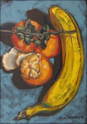 Still life with banana. Oils on panel 18 x 13 cm