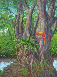 Landscape, oil on canvas. Sacred Bo tree and gurgling stream.  90 x 60 cm (36 x 24 inches)
