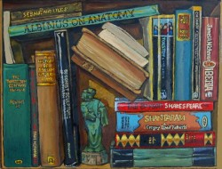 Bookshelf VII, books with Ming figurine. Oil painting on panel 21 x 25 cm