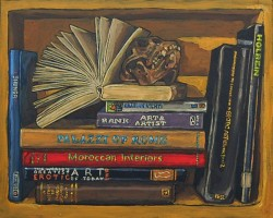 Bookshelf VI, books with monkey skull. Oil painting on panel 21 x 25 cm
