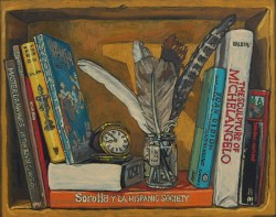 Bookshelf V, books with feathers. Oil painting on panel 21 x 25 cm