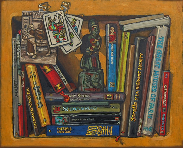 Bookshelf II, books with Spanish playing cards. Oil painting on panel 21 x 25 cm