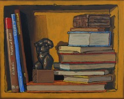 Bookshelf III, books with bronze torso. Oil painting on panel  21 x 25 cm