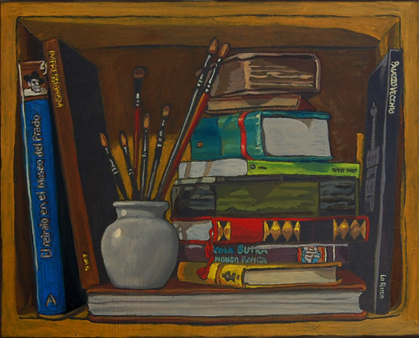 Bookshelf I, books with brushes.  Oil painting on panel 21 x 25 cm