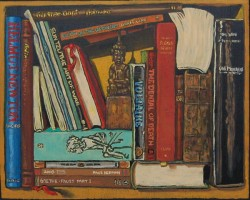 Bookshelf VIII, books with Thai Buddha. Oil painting on panel 21 x 25 cm