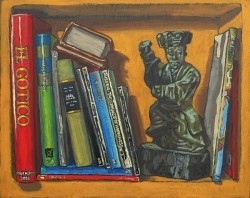 Bookshelf IX, books with Chinese ancestor doll. Oil painting on panel 21 x 25 cm