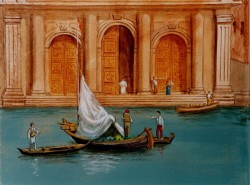 Details: on the left boats & figures on the steps under the tall tower to the left in the big picture above
