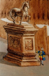 The gentleman admiring an equestrian statue can be found to the right of the door, behind the big Gondola