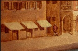 Hidden in an alley in the distance, at the right, a man urinates against a wall