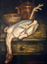 Painting, oils on hemp potato sack (hessian). Still life with plucked chicken.  92 x 65cm (37 x 26in)