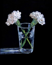 Carnations. Oil paint on panel 45 x 30 cm