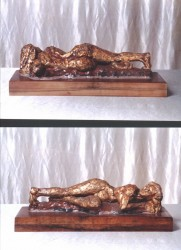 Front & back views, clay figure with gold leaf & oil paint polychroming, 18 cm (7 in) tall.