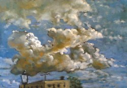 Clouds over Arcos de la Frontera II. Oil on board 29 x 43 cm