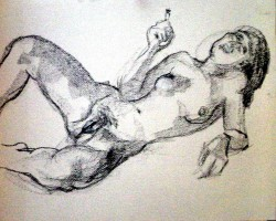 Drawing, nude study, charcoal on watercolour paper.  50 x 65 cm (20 x 26 in)