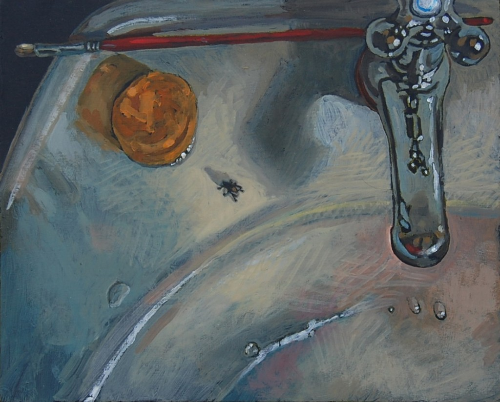 Bathroom sink, oil painting on panel 30 x 45 cm