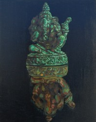 Bronze Ganesh statue, oils on  wood panel 45 x 30 cm