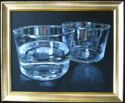 Two glasses. Oil painting on panel 30 x 45 cm
