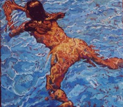 Isabel swimming. Oils on canvas