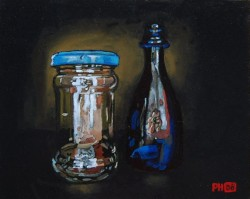 Bottle & jar with self-portrait. Oils on panel 30 x 45 cm
