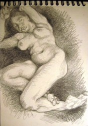 Nude 58, charcoal pencil on drawing paper (later used for painted plate--see nudes) 29 x 21 cm
