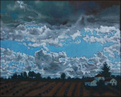 Landscape, oil on panel. Clouds over Arcos II (20 x 25 cm) 8 x 10 inches