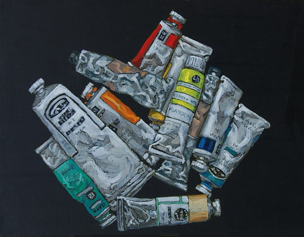 Tubes of oil paints. Oil painting on panel 30 x 45 cm