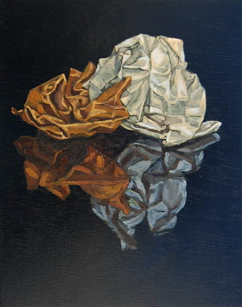 Crumpled paper, oils on panel 45 x 30 cm
