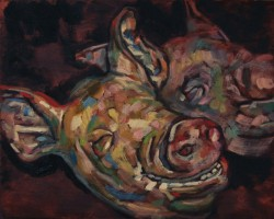 Pig heads, oil painting on panel  25 x 21 cm
