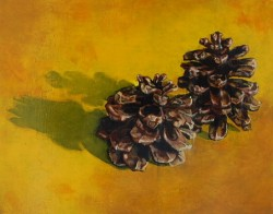 Pine cones. Oil painting on panel  30 x 45 cm
