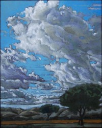 Landscape, oil on panel. Clouds over Arcos IV  25 x 20 cm