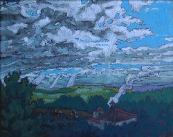 Landscape, oil on panel. Clouds over Arcos- 3 (20 x 25 cm) 8 x 10 inches