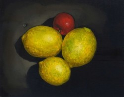 Lemons & tomato. Oil paints on panel 30 x 45 cm