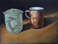 Rembrandt tea mug, oil paints on panel 30 x 45 cm
