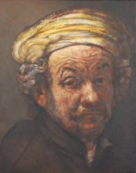 Small Rembrandt copy (as St Paul) oils on canvas on board  25 x 20 cm