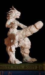 White clay maquette (based on Roman fertility amulet) 8 inches tall (18 cm)