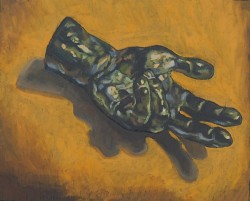 Rodin's hand (bronze) oil paint on panel 30 x 45 cm