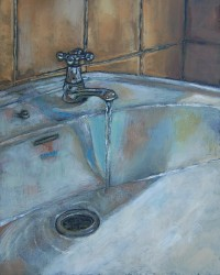 Bathroom sink II- Oils on panel 45 x 30 cm