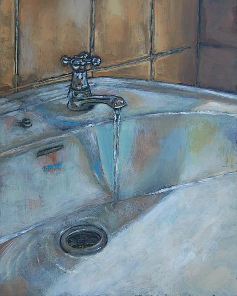 Bathroom sink II- Oils on panel 45 x 30 cm