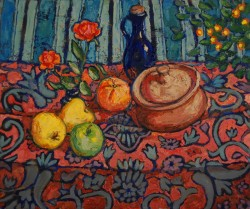 Still life with roses, oils on canvas 80 x 120 cm